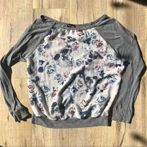Wet Seal Md Raglan Mixed Sheer Skull Roses Shirt